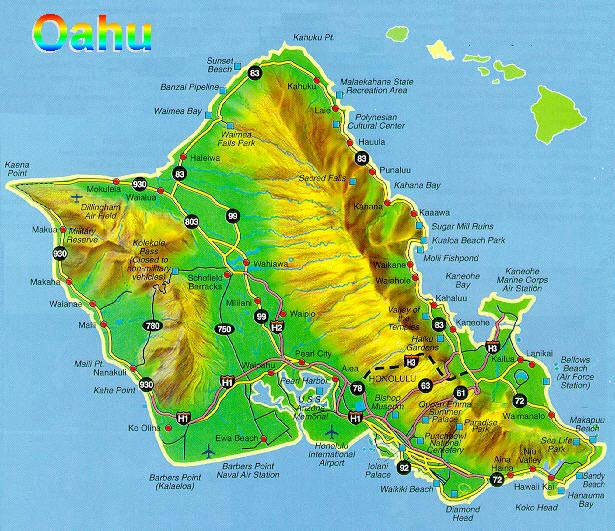 OAHU HONOLULU LARGE MAP