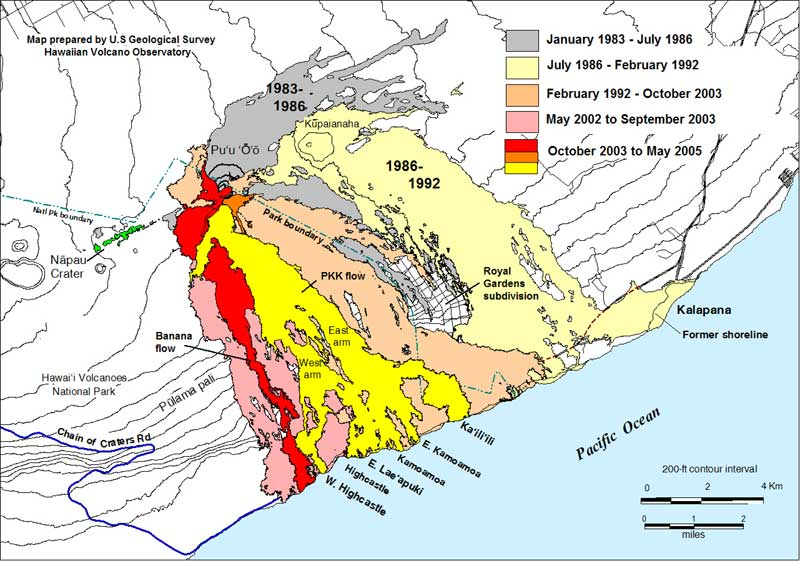 HAWAII VOLCANOES LAVA FLOW MAP FREE GEOGRAPHIC MAPS OF