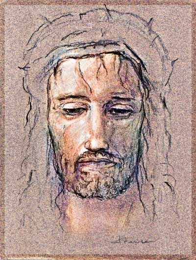 CROWN OF THORNS JESUS CRUCIFIXION OF CHRIST CHARCOAL ART