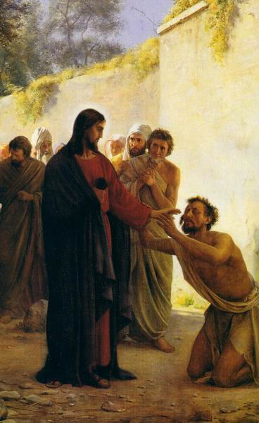 JESUS HEALS A BLIND MAN PAINTING