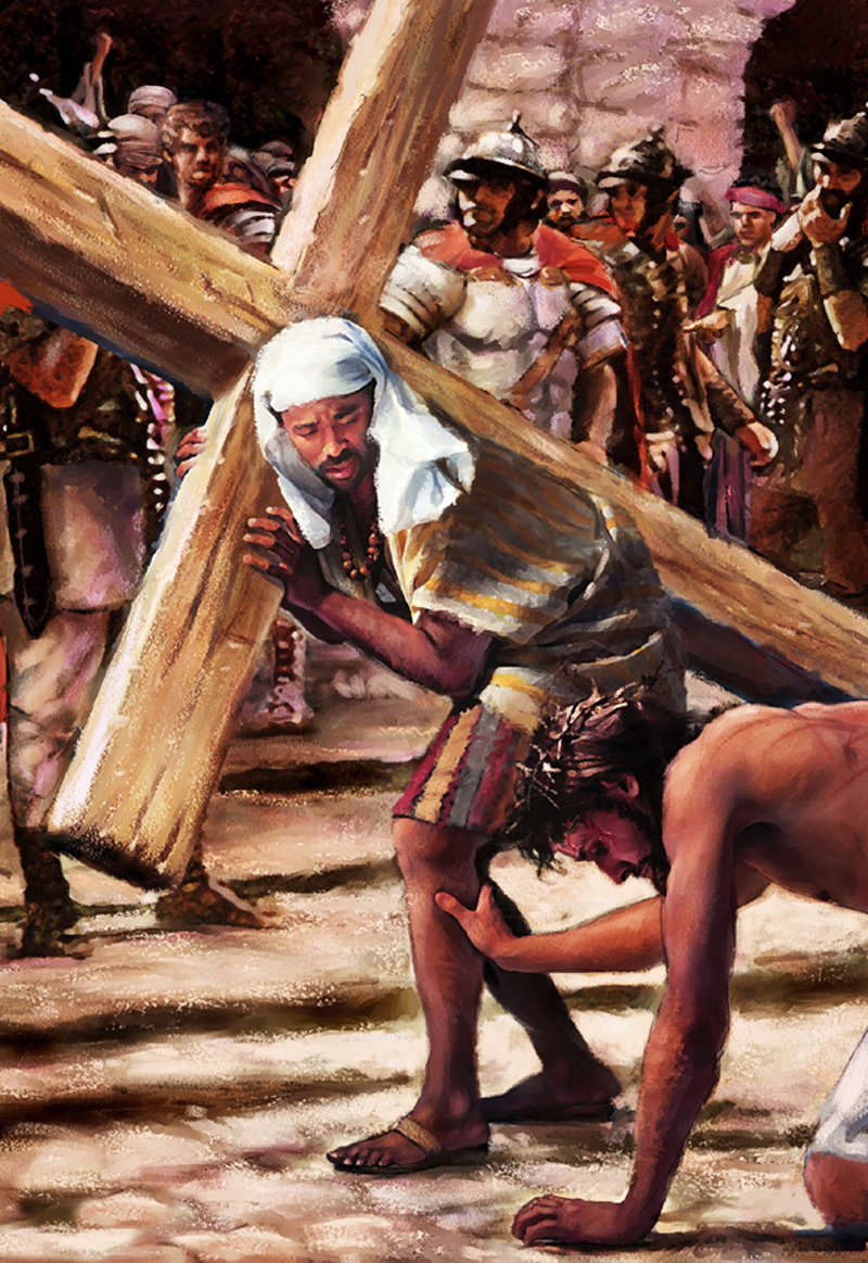SIMON OF CYRENE HELPS JESUS CARRY THE CROSS PAINTING