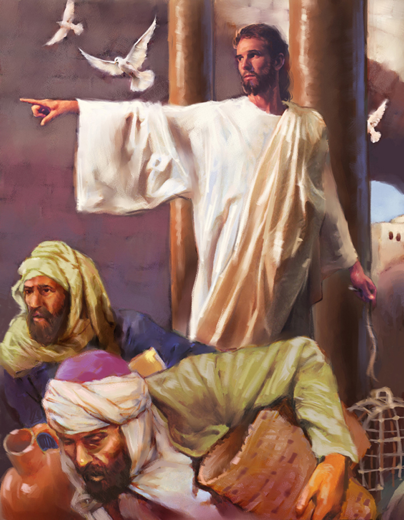 JESUS DRIVING OUT THE MONEY CHANGERS PICTURES OF JESUS ART