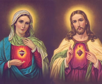 SACRED HEART OF VIRGIN MARY & JESUS CHRIST