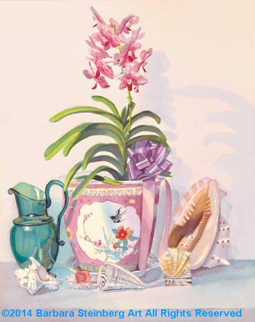 Orchids and Emerald Pitcher giclee fine art reproduction
