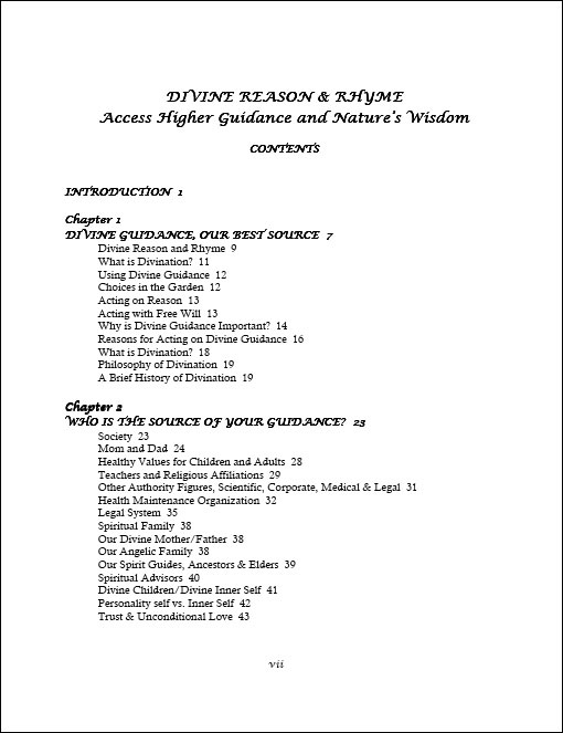 Divine Reason & Rhyme table of contents page 1